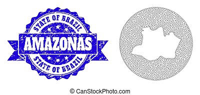 Network Mesh Round Inverted Map of Amazonas State with Scratched Stamp