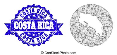 Network Mesh Round Stencils Map of Costa Rica with Grunge Stamp Seal