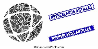 Network Mosaic and Grunge Rectangle Netherlands Antilles ...