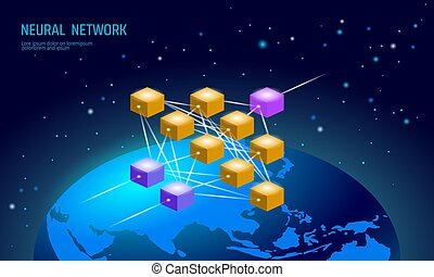 network., net., 世界的である, 認識, 神経, 知性, concept., ニューロン,...