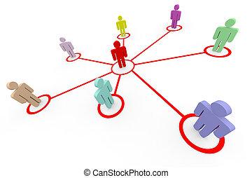 network., o, empresa / negocio, social