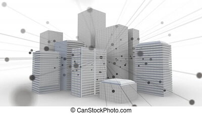 Animation of network of connecting points over model of modern office blocks on white background. Global digital network technology concept digitally generated image.