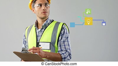 Network of connection icons against male architect taking notes against grey background