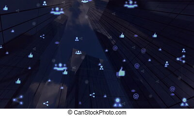 Digital animation of Network of connection icons moving over tall buildings against black background. Global networking and business concept