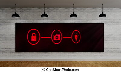 Animation of digital interface with three red icons on screen and lamps hanging Global computer network technology concept digitally generated image.
