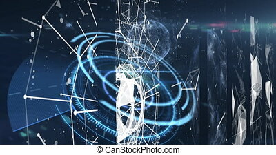 Digital animation of Network of connections over round scanner over globe spinning against blue background. Global networking and connection concept