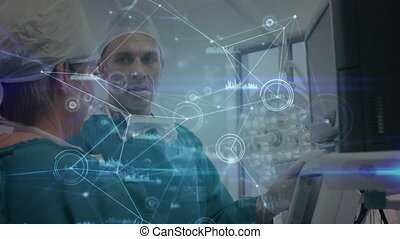 Network of connections against male and female surgeon using machine at hospital. medicine research science and global networking concept