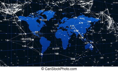 Network of connections against world map