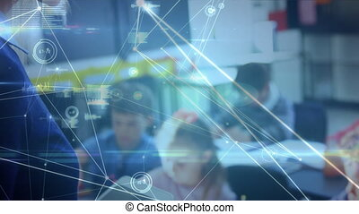 Animation of network of connections and data processing over teacher using digital tablet and schoolchildren writing in class. Global science learning education concept digitally generated image.