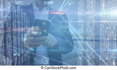 Network of connections and microprocessor connections against man using smartphone. global networking and connection concept.