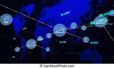 Network of connections icons against world map