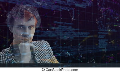 Animation of digital interface with icons and data processing. Global computer network technology concept digitally generated image.