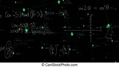 Digital animation of Network of connections with arrows with increasing numbers and mathematical diagrams and equations against black background