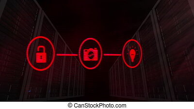 Digital animation of network of red digital icons over multiple servers against black background. Global networking and online security concept
