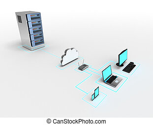 network of electronic devices concept. 3d illustration