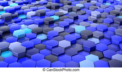 network of hexagons - A network of hexagons blue hue, which...