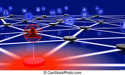 Network of internet of things attacked by a hacker on one...