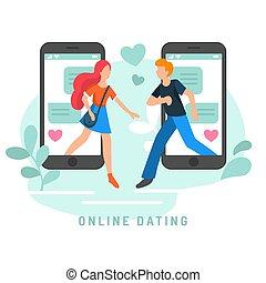 network., płaski, kobieta, users., app, infographics, ...