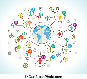 network., plat, concept, carte, conception, social, mondiale