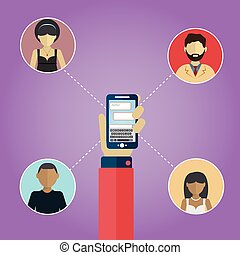 network., plat, concept, réseau, gens, média, concept., avatars, connexion, social, globe, design.