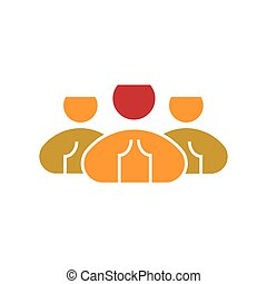 network., plat, style, groupe, gens, social, illustration, silhouettes, utilisateur, vector., équipe, icon., icône, constitué, design.