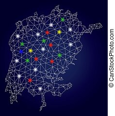 Network Polygonal Vector Victoria Lake Map with Bright Glow...