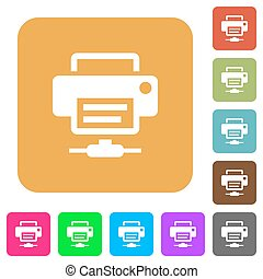 Network printer rounded square flat icons