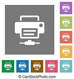 Network printer square flat icons