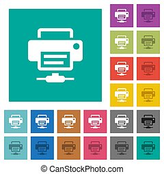 Network printer square flat multi colored icons