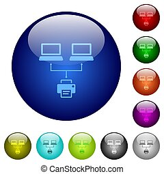 Network printing icons on round glass buttons in multiple colors. Arranged layer structure