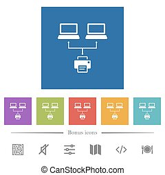 Network printing flat white icons in square backgrounds. 6 bonus icons included.