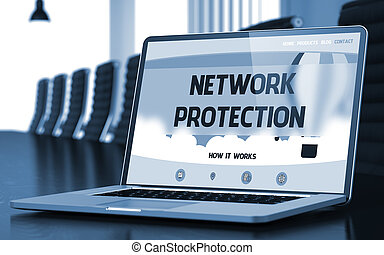 Network Protection on Laptop in Meeting Room. 3D.