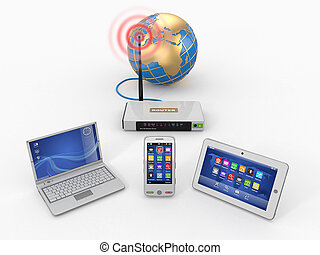 network., przez, tabliczka, dom, laptop, wifi, pc., telefon,...