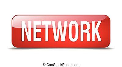 network red square 3d realistic isolated web button