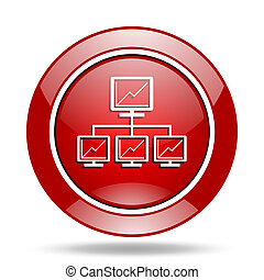 network red web glossy round icon