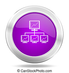 network round glossy pink silver metallic icon, modern design web element