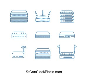 Network router icons - Wireless access points, routers and...