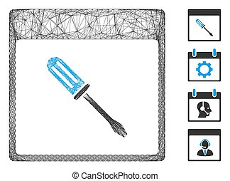 Vector net screwdriver calendar page. Geometric hatched frame 2D net generated with screwdriver calendar page icon, designed with crossed lines. Some bonus icons are added.