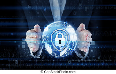 Network security concept of business woman hand protecting global with key on blue digital technology background