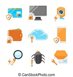 Network security flat icon set