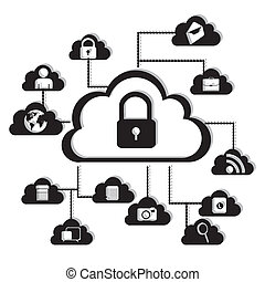 network security - illustration of cloud technology locked,...