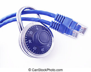 Network Security - Padlock on two network cables,