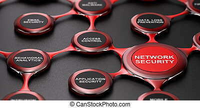 Network Security Services - 3D illustration of network...