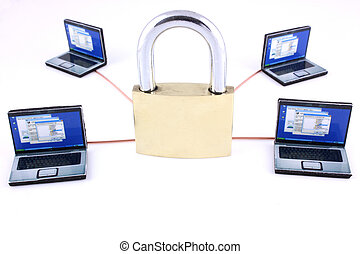 Network security - Four tiny laptops linked to a large...