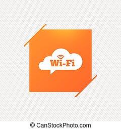 network., segno., wifi, simbolo., libero, fili