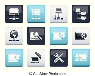 Network, Server and Hosting icons over color background