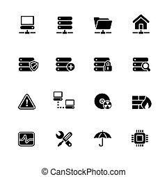 Network, Server & Hosting Web Icons // Black Series