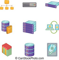 Network server infrastructure icons set