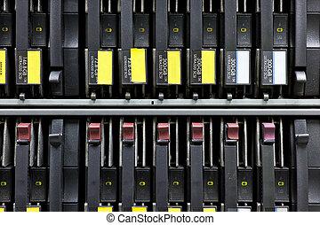 Network Server Rack hard disks Close Up