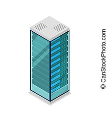 Network server rack isometric 3D icon. Data centre sign,...